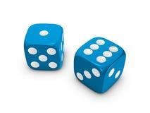 biały błękitny tło kostka do gry Zdjęcie Stock