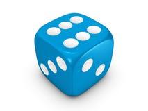 biały błękitny tło kostka do gry Fotografia Stock