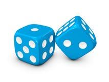 biały błękitny tło kostka do gry Fotografia Royalty Free