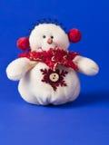 Biały bałwan w czerwonym szaliku Obrazy Royalty Free