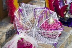 Biały barwiony dziewiarski handmade parasol zdjęcia royalty free