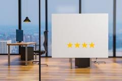 Biały billboard na szklanej ścianie w czystej biurowej miejsce pracy, czterogwiazdkowa ocena, 3D ilustracja ilustracja wektor