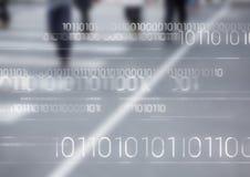 Biały binarny kod przeciw rozmytej drodze z ludźmi Fotografia Royalty Free