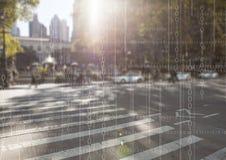 Biały binarny kod przeciw rozmytej ulicie z racą Obrazy Stock