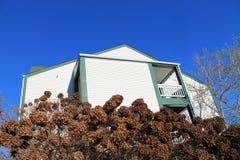 Biały budynek przeciw niebieskiemu niebu w zimie Obrazy Stock