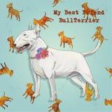 Biały bullterrier na ogieniu jest prześladowanym teksturę Obrazy Royalty Free