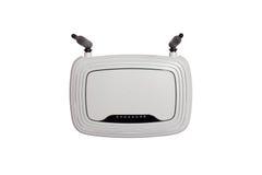 Biały CC$FI router z dwa antenami odizolowywać zdjęcia stock