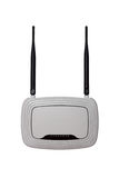 Biały CC$FI router z dwa antenami odizolowywać na tle fotografia stock