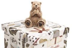 Biały ceramiczny zabawka niedźwiedź Obrazy Royalty Free