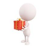 Biały charakter z prezenta pudełkiem Zdjęcie Stock