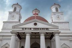 Biały chrupnięcie G P Ja B Immanuel, Gereja Blenduk, Semarang, Jawa Tengah, Indonezja Jule 2018 zdjęcia stock