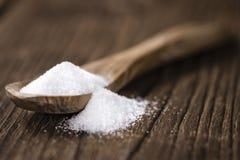 Biały cukier na łyżce Zdjęcie Royalty Free