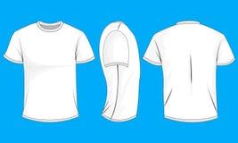 Biały człowiek koszulka z krótkimi rękawami Przód, plecy, boczny widok, (0) ilustracji