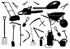 biały czarny ogrodowi narzędzia Obrazy Stock