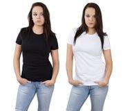 biały czarny puste żeńskie koszula Obraz Stock