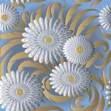 Biały 3d kwitnie wektorowego bezszwowego wzór Bławy kwiecisty plecy Zdjęcie Stock