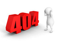 Biały 3d mężczyzna z czerwieni 404 błędu symbolem Zdjęcia Stock