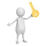 Biały 3d mężczyzna z dużym złotym sukcesu kluczem Fotografia Royalty Free