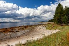 Biały Denny wybrzeże przy niskim przypływem, Kola półwysep, Rosja Zdjęcia Royalty Free