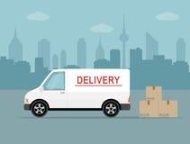 Biały doręczeniowy samochód dostawczy z cieniem i kartony na miasta tle Obrazy Stock