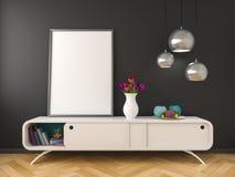 Biały dresser czerni ściany mockup Zdjęcia Stock