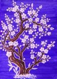 Biały drzewo w okwitnięciu, maluje Zdjęcia Stock