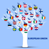 Biały drzewo z europejskimi zrzeszeniowych flaga jabłkami Obrazy Royalty Free