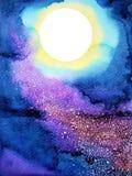 Biały duży księżyc w pełni na zmroku - błękitny nocne niebo akwareli obraz Fotografia Royalty Free