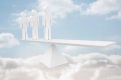 Biały dział zasobów ludzkich waży w chmurach Obrazy Stock