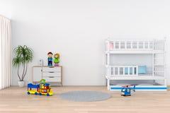 Biały dziecko pokoju wnętrze dla mockup, 3D rendering Ilustracja Wektor