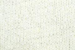 Biały dziewiarski wełny tekstury tło Zdjęcia Royalty Free