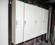 Biały elektryczny panel kończący zdjęcia stock