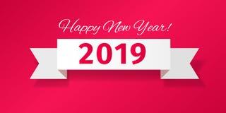 Biały faborek z witać Szczęśliwego nowego roku 2019! ilustracji