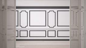 Biały falcowania drzwi otwarcie na klasyk pustej przestrzeni z sztukateryjnymi bagietami i parkietową podłoga, rocznika wewnętrzn zdjęcia royalty free