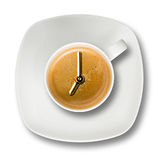 Biały filiżanki kawy espresso kawy zegar Siedem Obraz Stock