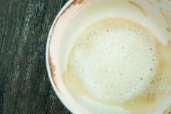 Biały filiżanki kawy piany koniec obrazy stock