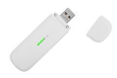 Biały 3g usb bezprzewodowy mobilny modem obrazy royalty free
