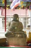 Biały gruby Buddha statuy ręki story oko lub widzii żadny złego buddhas st Obraz Stock