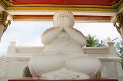 Biały gruby Buddha statuy ręki story oko lub widzii żadny złego buddhas st Fotografia Stock