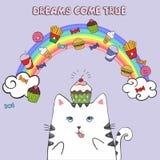 Biały gruby kot w niebie z fastem food ilustracji