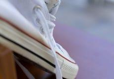 Biały gym butów szczegół Obraz Stock