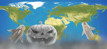 Biały Halloweenowy projekt z światową mapą 3d-illustration elementy ilustracji