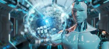 Biały humanoid używać kuli ziemskiej sieci hologram z Europa mapą 3D r ilustracji