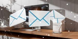 Biały i błękitny email lata nad desktop 3D renderingiem Zdjęcie Stock