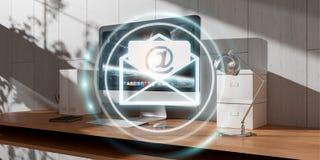 Biały i błękitny email lata nad desktop 3D renderingiem Obraz Royalty Free