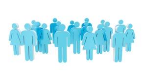 Biały i błękitny grupy ludzi ikony 3D rendering Zdjęcie Stock