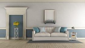 Biały i błękitny klasyczny żywy pokój royalty ilustracja