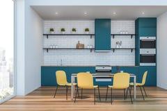 Biały i błękitny kuchenny wnętrze royalty ilustracja