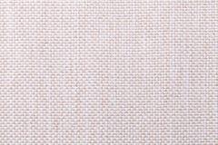 Biały i beżowy tekstylny tło z w kratkę wzorem, zbliżenie Struktura tkanina makro- zdjęcia royalty free
