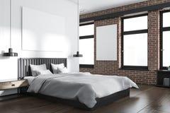 Biały i ceglany sypialnia kąt, plakat royalty ilustracja